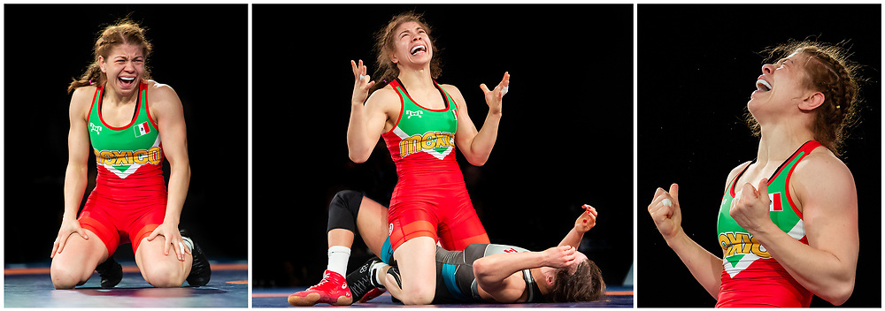 OTTAWA - MARCH 14: Mexican wrestler Alma Jane Valencia Escoto celebrates after defeating Canadian Linda Morais at the Pan-American Olympic Qualification tournament in Ottawa, Canada and wrote her name in the history books after becoming the first Mexican woman ever to qualify for the Olympic Games in wrestling on March 14, 2020.<br /> <br /> Photo: Steve Kingsman