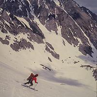 John Fischer skis the  Mount Humphreys Glacier in the Sierra Nevada above Bishop, CA skis the Mount Humphreys Glacier in the Sierra Nevada above Bishop, CA