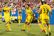 FRISCO, TX - SEPTEMBER 29:  Jairo Arrieta #25 of the Columbus Crew celebrates after scoring a goal in the first half against FC Dallas on September 29, 2013 at Toyota Stadium in Frisco, Texas.  (Photo by Cooper Neill/Getty Images) *** Local Caption *** Jairo Arrieta