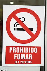 Spanish No Smoking sign in Las Palmas; Canaries,