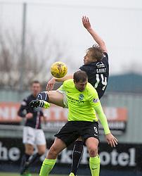 Falkirk's Peter Grant over Hibernian's Grant Holt. Falkirk 1 v 2 Hibernian, Scottish Championship game played 31/12/2016 at The Falkirk Stadium .