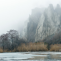 A misty winter day looking toward Cathedral Bluffs, Scarborough, Ontario.