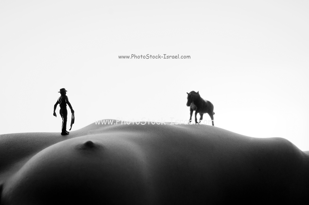 Western Fantasy a miniature toy horse and cowboy on a nude woman's torso landscape