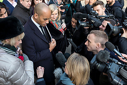"""© Licensed to London News Pictures. 21/01/2019. London, UK. The media speak with a group of MPs including Heidi Alexander, Chuka Umuna, Chris Leslie, Sarah Wollaston, Gavin Shuker, Anna Soubry and Luciana Berger after a meeting in the Cabinet Office. Prime Minister Theresa May will update MPs on her Brexit """"Plan B"""" this afternoon. Photo credit: Rob Pinney/LNP"""