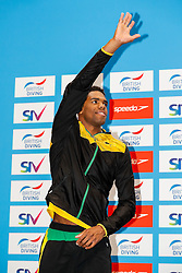Yona Knight-Wisdom from City of Leeds Diving Club and Jamaica (Guest) celebrates on the podium after finishing second in the Mens 3m Springboard Final - Mandatory byline: Rogan Thomson/JMP - 11/06/2016 - DIVING - Ponds Forge - Sheffield, England - British Diving Championships 2016 Day 2.