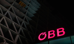 THEMENBILD - OeBB Logo bei Nacht, aufgenommen am 03. Juli 2017, Wien, Österreich // OeBB logo at night, Vienna, Austria on 2017/07/03. EXPA Pictures © 2017, PhotoCredit: EXPA/ JFK