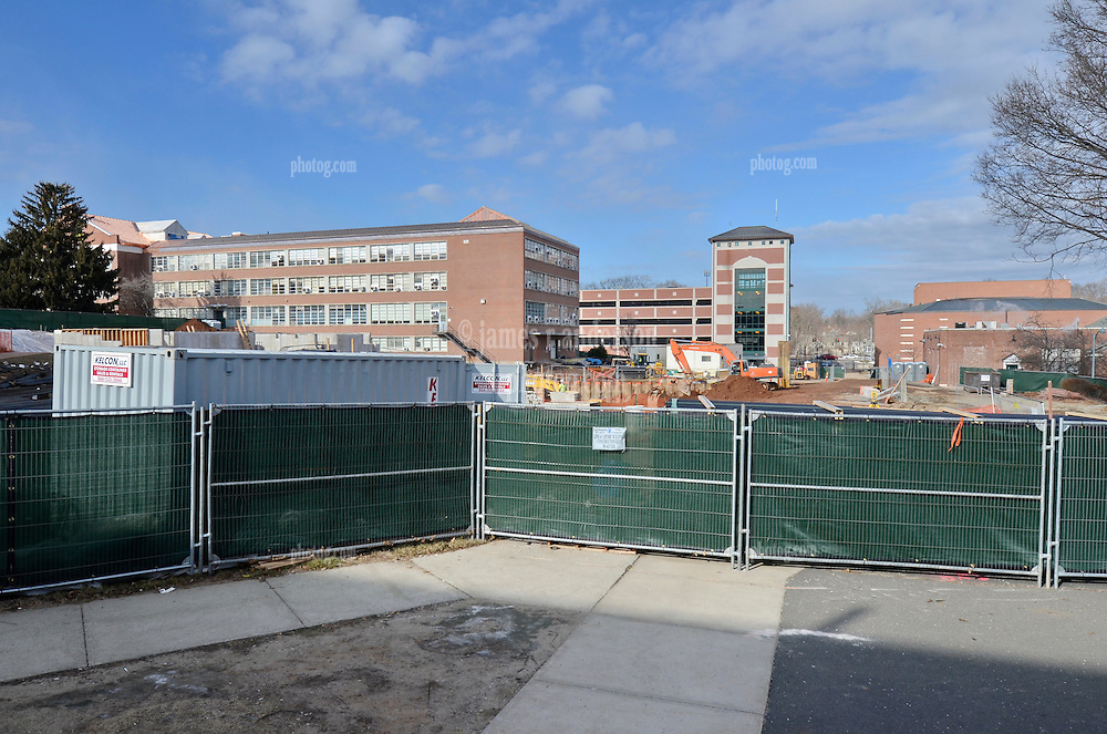 Central Connecticut State University.  New Academic Building.  Project No: BI-RC-324.Architect: Burt Hill Kosar Rittelmann Associates    Contractor: Gilbane Building Company, Glastonbury, CT..James R Anderson Photography   New Haven CT   photog.com.Date of Photograph: 19 January 2012  Image No. 03.Camera View: North. Site Overview from Marcus White Hall, Future South Elevation.