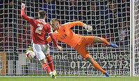 Southend United's Daniel Bentley saves the shot of Crewe Alexandra's Oliver Turton<br /> <br /> Photographer Richard Martin-Roberts/CameraSport<br /> <br /> Football - The Football League Sky Bet League One - Crewe Alexandra v Southend United - Tuesday 29th September 2015 - Alexandra Stadium - Crewe<br /> <br /> © CameraSport - 43 Linden Ave. Countesthorpe. Leicester. England. LE8 5PG - Tel: +44 (0) 116 277 4147 - admin@camerasport.com - www.camerasport.com