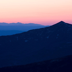 Mt. Garfield at sunset as seen from Mt. Bond in New Hampshire's White Mountains.  Pemigewasset Wilderness Area.  Early spring.