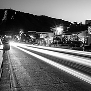 Cars parked near the Million Dollar Cowboy Bar in downtown Jackson, Wyoming.