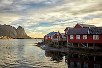Sunrise over the town of Reine, Norway in the Lofoten Islands.