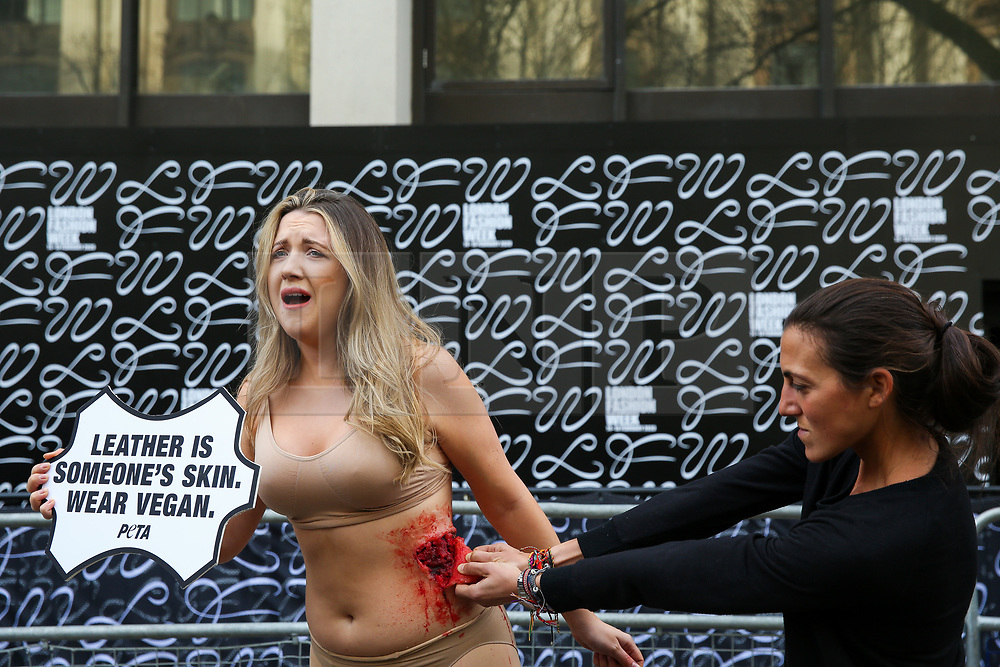 © Licensed to London News Pictures. 14/02/2020. London, UK. A half naked PETA (People for the Ethical Treatment of Animals) activist holds a sign 'LeatherIs Someone's Skin. Wear Vegan' as her skin is ripped off during a protest at start of London Fashion Week against the use of animal products in the leather industry. Photo credit: Dinendra Haria/LNP
