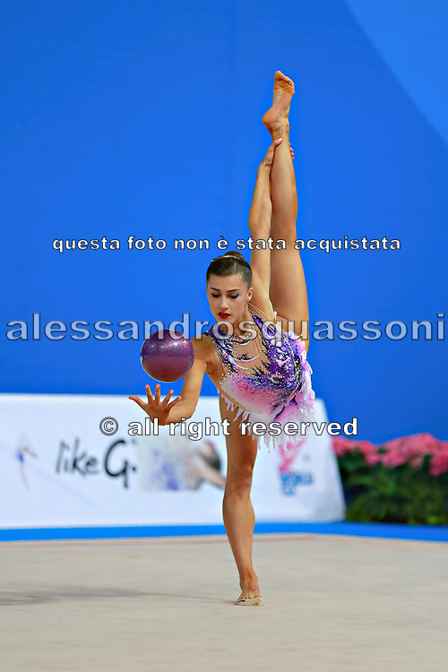 Prince Danielle during qualifying ball at the Pesaro World Cup April 1, 2016. She is a rhythmic gymnastics athlete from Australia born 12 June 1992 in Brisbane.<br /> Danielle competed at the 2016 Summer Olympics held in Rio de Janeiro, Brazil.
