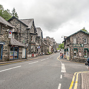 Betws-y-Coed Village Shopping Street. The village of Betws-y-Coed in the heart of the Snowdonia National Park is a popular base for hikers heading into the surround mountains.