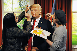 Chris Garigulo and Gemma Sim apply the finishing touches to a wax figure of Donald Trump in the Oval office, as it is unveiled at Madame Tussauds in London, ahead of his inauguration as the 45th US president.