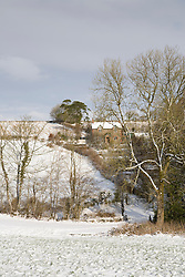 View from the field towards Glebe Cottage on a snowy winter's day