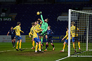 Alexander Clark of St Johnstone punches away a Ross County corner during the Scottish Premiership match between Ross County FC and St Johnstone FC at the Global Energy Stadium, Dingwall, Scotland on 2 January 2021