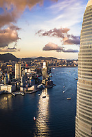Hong Kong - 17 July 2020: Aerial View of the IFC Tower at sunset, Central and Western District, Hong Kong.