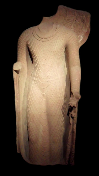 Buddha. First half or middle of the 5th century Gupta dynasty (320-600 AD) sandstone sculpture from Mathura, Uttar Pradesh in India