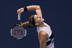 March 25, 2019 - Miami Gardens, FL, USA - Petra Kvitova, of the Czech Republic, serves against Caroline Garcia, of France, during their match at the Miami Open tennis tournament on Monday, March 25, 2019 at Hard Rock Stadium in Miami Gardens, Fla. (Credit Image: © Matias J. Ocner/Miami Herald/TNS via ZUMA Wire)