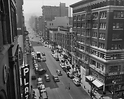 "Ackroyd 02380-3. ""SW Broadway looking south. April 25, 1950"" (Plaza Hotel, Broadway at Washington)"