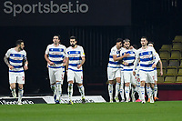 Football - 2020 / 2021 Sky Bet Championship - Watford vs Queens Park Rangers - Vicarage Road<br /> <br /> Queens Park Rangers players celebrate the equaliser scored by Charlie Austin.<br /> <br /> COLORSPORT/ASHLEY WESTERN