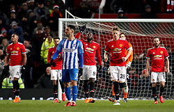 Manchester United's Romelu Lukaku celebrates scoring his side's first goal of the game during the Emirates FA Cup, quarter final match at Old Trafford, Manchester.