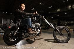 Kensuke Hamano with his 1990 Harley-Davidson 883 custom Sportster chopper at the 27th Annual Mooneyes Yokohama Hot Rod Custom Show 2018. Yokohama, Japan. Sunday, December 2, 2018. Photography ©2018 Michael Lichter.