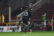 Goal - Lewis Wing (6) of Yeovil Town celebrates scoring a goal to make the score 1-1 during the EFL Sky Bet League 2 match between Swindon Town and Yeovil Town at the County Ground, Swindon, England on 10 April 2018. Picture by Graham Hunt.