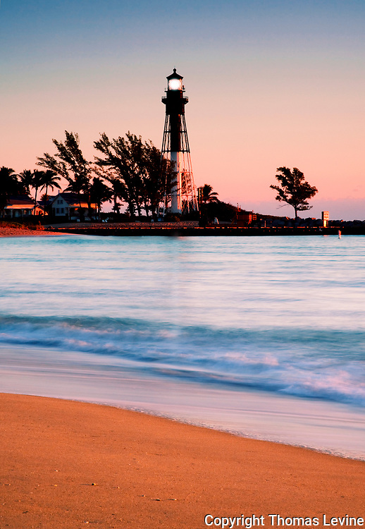 Early morning at the Coast Guard Lighthouse at Hillsboro Inlet, Lighthouse Pt. Florida. Vertical Format