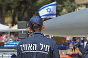 Israeli Air Force - concept with Israeli flag and Hebrew text on a technician's overall