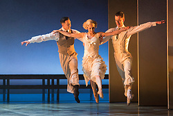© Licensed to London News Pictures. 14 May 2013. London, England. L-R: Giuliano Contadini as Nick Carraway, Martha Leebolt as Daisy Buchanan and Tobias Batley as Jay Gatsby. Northern Ballet returns to Sadler's Wells this spring with The Great Gatsby, a brand new full-length ballet for 2013. Adapted from the classic novel by F. Scott Fitzgerald, The Great Gatsby is directed and choreographed by Artistic Director David Nixon OBE, with co-direction from Patricia Doyle. From 14 to 18 May 2013. Photo credit: Bettina Strenske/LNP