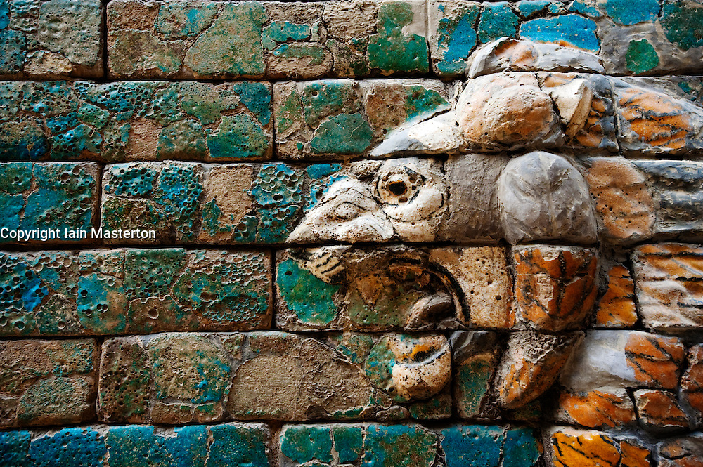 Detail of Babylonian ceramic lion on Processional way Pergamon Museum on Museumsinsel in Berlin Germany
