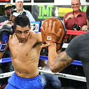 LAS VEGAS, NV - APRIL 14: Leo Santa Cruz (L) works out at the Mayweather Boxing Club on April 14, 2015 in Las Vegas, Nevada. Santa Cruz will fight on the undercard of the Floyd Mayweather Jr. vs Manny Pacquiao bout on May 2, 2015 in Las Vegas.  (Photo by Alex Menendez/Getty Images) *** Local Caption *** Leo Santa Cruz