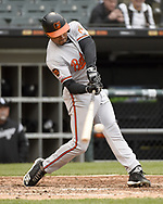 CHICAGO - MAY 01:  Richie Martin #1 of the Baltimore Orioles bats against the Chicago White Sox on May 1, 2019 at Guaranteed Rate Field in Chicago, Illinois.  (Photo by Ron Vesely)  Subject:   Richie Martin
