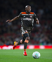 """Brentford's Kamohelo Mokotjo during the Carabao Cup, Third Round match at the Emirates Stadium, London. PRESS ASSOCIATION Photo. Picture date: Wednesday September 26, 2018. See PA story SOCCER Arsenal. Photo credit should read: Nick Potts/PA Wire. RESTRICTIONS: EDITORIAL USE ONLY No use with unauthorised audio, video, data, fixture lists, club/league logos or """"live"""" services. Online in-match use limited to 120 images, no video emulation. No use in betting, games or single club/league/player publications."""