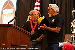 Paughco's Ron Paugh getting a special award from Mondo on Ron's induction at the Sturgis Motorcycle Museum & Hall of Fame Induction Breakfast at the Lodge at Deadwood during the Sturgis Black Hills Motorcycle Rally. SD, USA. Wednesday, August 7, 2019. Photography ©2019 Michael Lichter.