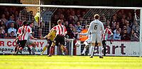 Photo: Alan Crowhurst.<br />Brentford v Bradford City. Coca Cola League 1. 08/04/2006. Bradford's Michael Symes (C) scores.