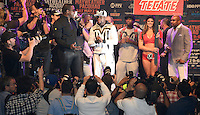 April 28.2015. Las Vegas NV.  Floyd Mayweather Jr.arrives for the fans Tuesday at the MGM grand hotel.  Floyd Mayweather Jr  will be fighting Manny  Pacquiao the long awaited fight in May 2nd at the MGM grand hotel.<br /> Photo by Gene Blevins/LA DailyNews