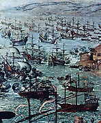 In April 1587 a raid by the Englishman Sir Francis Drake occupied the harbour of Cadiz for three days. The attack delayed the sailing of the Spanish Armada by a year. Zurbaran, Francisco de 'The Attack on Cádiz', (Detail) 1634 Museo del Prado