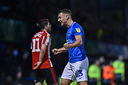 Portsmouth Defender, Lee Brown (3) celebrates the win at the final whistle during the EFL Sky Bet League 1 match between Portsmouth and Sunderland at Fratton Park, Portsmouth, England on 22 December 2018.