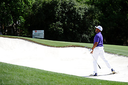 May 3, 2019 - Charlotte, NC, U.S. - CHARLOTTE, NC - MAY 03:  Harold Varner III watches the landing of the ball after his shot from the bunker in round two of the Wells Fargo Championship on May 03, 2019 at Quail Hollow Club in Charlotte,NC. (Photo by Dannie Walls/Icon Sportswire) (Credit Image: © Dannie Walls/Icon SMI via ZUMA Press)