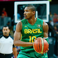 06 August 2012: Brazil Leandrinho Barbosa looks to pass the ball during 88-82 Team Brazil victory over Team Spain, during the men's basketball preliminary, at the Basketball Arena, in London, Great Britain.