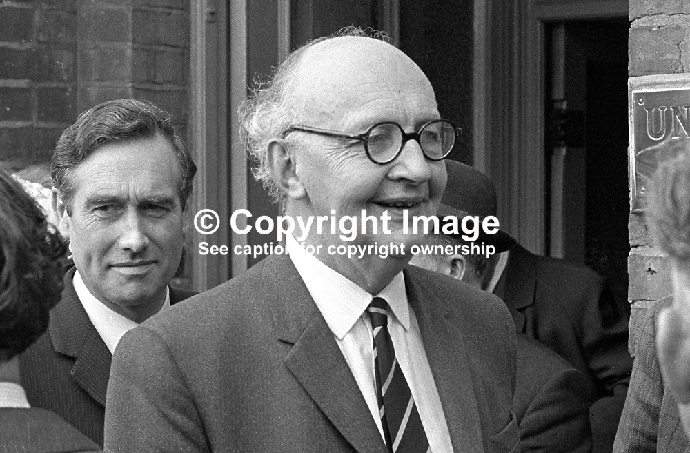 Phelim O'Neill, Ulster Unionist, Minister of Agriculture, MP, Stormont Parliament, Belfast, N Ireland, UK, leaving Ulster Unionist Party Headquarters, after a party meeting. 197005200171. In 1982, he succeeded his father as the second Baron Rathcavan, an hereditary peer.<br /> <br /> Copyright Image from Victor Patterson, Belfast, UK<br /> <br /> t: +44 28 9066 1296 (from Rep of Ireland 048 9066 1296)<br /> m: +44 7802 353836<br /> e: victorpattersonbelfast@gmail.com<br /> <br /> www.images4media.com<br /> <br /> Please see my full Terms and Conditions of Use at https://www.images4media.com/p/terms-conditions - it is IMPORTANT that you familiarise yourself with them.<br /> <br /> Images used online incur an additional cost. This cost should be agreed in writing in advance. Online images must be visibly watermarked i.e. © Victor Patterson or that of the named photographer within the body of the image. The original metadata must not be deleted from images used online.<br /> <br /> This image is only available for the use of the download recipient i.e. television station, newspaper, magazine, book publisher, etc, and must not be passed on to a third party. It is also downloaded on condition that each and every usage is notified within 7 days to victorpattersonbelfast@gmail.com.