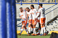 Blackpool Players Celebrate after Blackpool Forward, Kyle Vassell (7) scores the opening goal to make it 0-1 during the EFL Sky Bet League 1 match between Portsmouth and Blackpool at Fratton Park, Portsmouth, England on 24 February 2018. Picture by Adam Rivers.