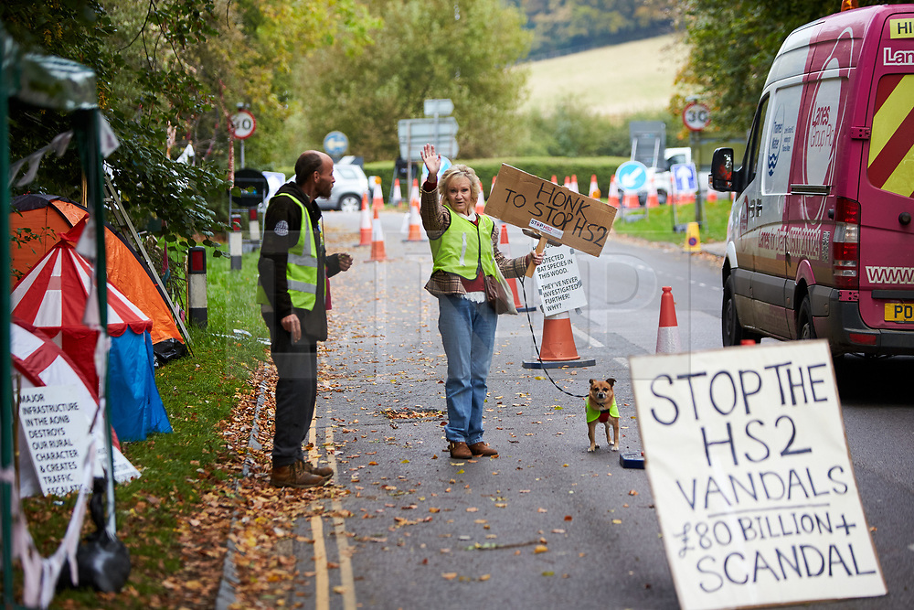 © Licensed to London News Pictures. 23/10/2019. GREAT MISSENDEN, UK.  Enabling works to allow the construction of the HS2 railway continue despite the future of the project being reviewed. A number of mature trees were due to be felled last week to allow easier access for construction traffic but local residents and climate activists created a makeshift camp to prevent their destruction. In this picture: Climate activist ALAN WOODWARD (left) and ANN HAYWARD (centre), with her dog Toby (12 year old Terrier cross) at the protest site. Photo credit: Cliff Hide/LNP