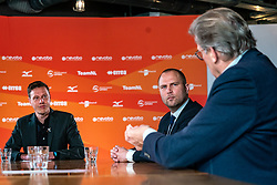 Presenter Etienne Verhoeff, Rudmer Heerema (Member of Parliament VVD, Sport portfolio) and Alderman Michel Kotteman (Borne) during the talk show of the Dutch volleyball association. The association wants to start a professionalization process with which they want to strengthen recreational sport in the coming years on March 8, 2021 in Utrecht