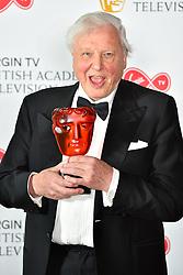 Sir David Attenborough with his BAFTA Award at the Virgin TV British Academy Television Awards 2018 held at the Royal Festival Hall, Southbank Centre, London.