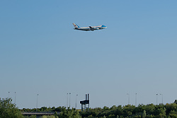 © Licensed to London News Pictures. 13/06/2021. London, UK. President of the United States, Joe Biden, departs from London Heathrow Airport, over the M25 motorway, on board Air Force 1 following the conclusion of the G7 summit in Cornwall. Photo credit: Peter Manning/LNP