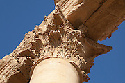 Corinthian capital of the walled courtyard, or temenos of the Temple of Bel, Palmyra, Syria. Ancient city in the desert that fell into disuse after the 16th century.